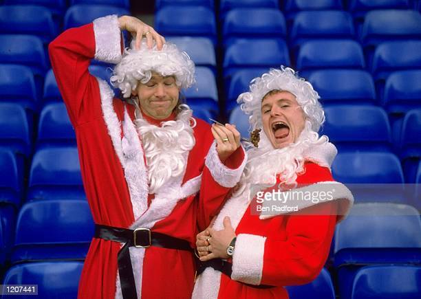 Chris Waddle and Paul Gascoigne in Santa Claus suits Mandatory Credit Ben Radford /Allsport