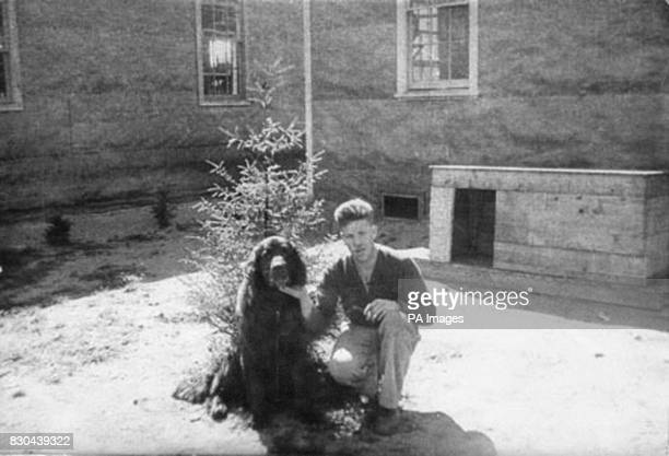 Undated collect picture of Gander the dog and unidentified male The animal was awarded a Dickin Medal by the People's Dispensary for Sick Animals...