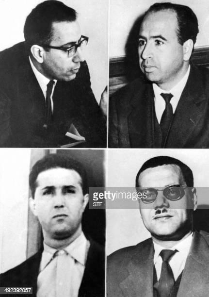 Undated combo showing potraits of Algerian National Liberation Front leaders M'hamed Yazid Belkacem Krim Ahmed Ben Bella and Abdelhafid Boussouf...