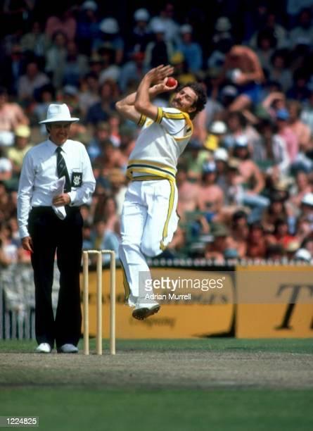Dennis Lillee of Australia bowls during a match Mandatory Credit Adrian Murrell/Allsport