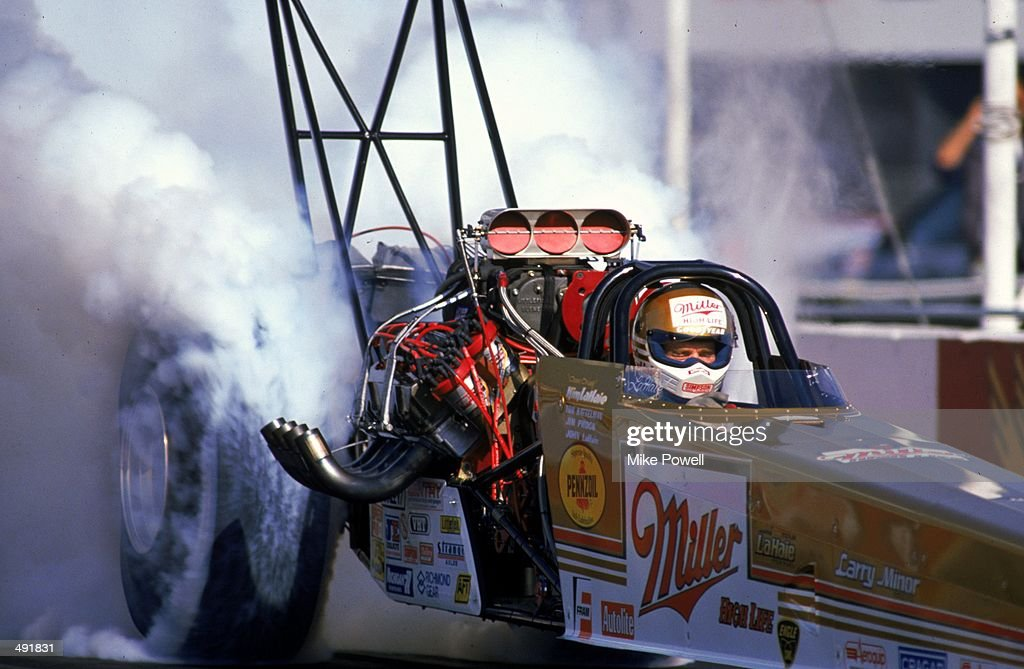 Dick Lahaie burns rubber at the start of a drag race during the Miller High Life Top Fuel in the NHRA Winter Nationals in Pomona California Mandatory...