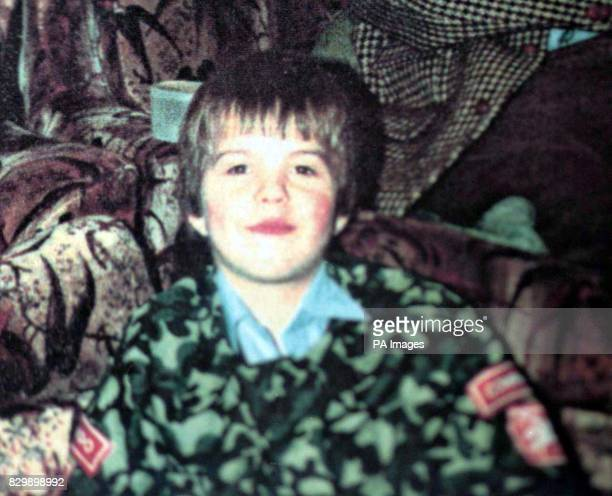 Undated file of murdered soldier Stephen Restorick wearing his first army uniform when he was fiveyearsold Lance Bombardier Restorick a 23yearold...