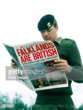 Undated File Photo A British soldiers reads a newspaper after Argentina Invades the Falkland Islands