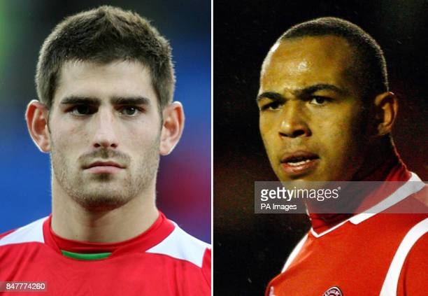 Undated file photos of Ched Evans and Clayton McDonald who will stand trial today accused of raping a woman at a hotel Wales and Sheffield United...