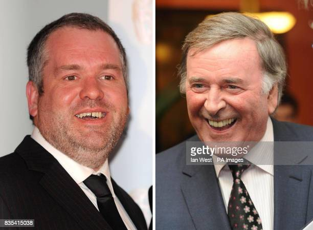 Undated file photos of Chris Moyles and Sir Terry Wogan Radio 1 DJ Chris Moyles is almost neck and neck with breakfast king Sir Terry radio listening...