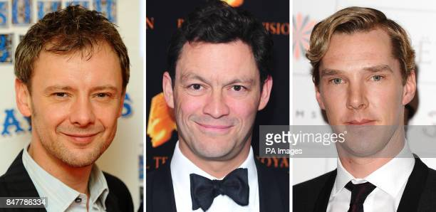 Undated file photos of John Simm Dominic West and Benedict Cumberbatch who have been nominated today for Best Actor in this year's Arqiva British...