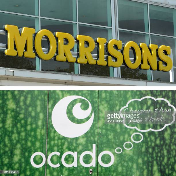 Undated file photos of Morrisons and Ocado signs as Paul Coyle group treasurer and head of tax at Morrisons has been arrested over allegations of...