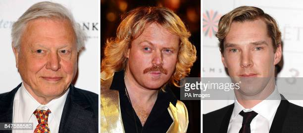 Undated file photos of Sir David Attenborough Keith lemon and Benedict Cumberbatch Sir David is to take on Keith and Sherlock for a TV Bafta
