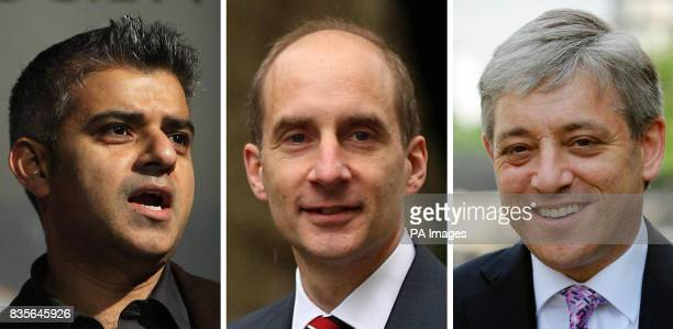 Undated file photos of Transport Minister Sadiq Khan Transport Secretary Lord Adonis and Speaker John Bercow Speaker John Bercow told MPs tonight...