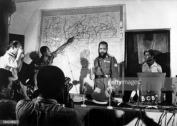 Undated file picture of Colonel Odumegwu Emeka Ojukwu the leader of the breakaway Republic of Biafra giving a press conference during the Biafra war...