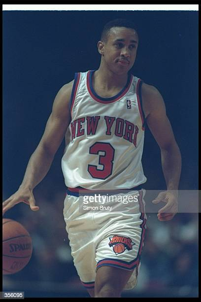 Guard John Starks of the New York Knicks moves the ball during a game at Madison Square Garden in Manhattan New York Mandatory Credit Simon Bruty...