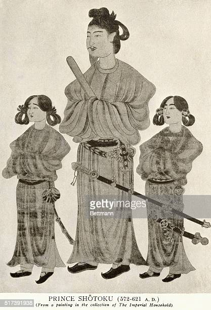 Undated illustration depicting Japan's Prince Shotoku From a painting in the collection of the Imperial Household