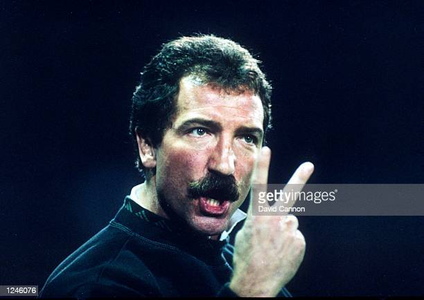 Liverpool manager Graeme Souness signals to his team from the bench during the Wimbledon v Liverpool match Mandatory Credit David Cannon/ALLSPORT