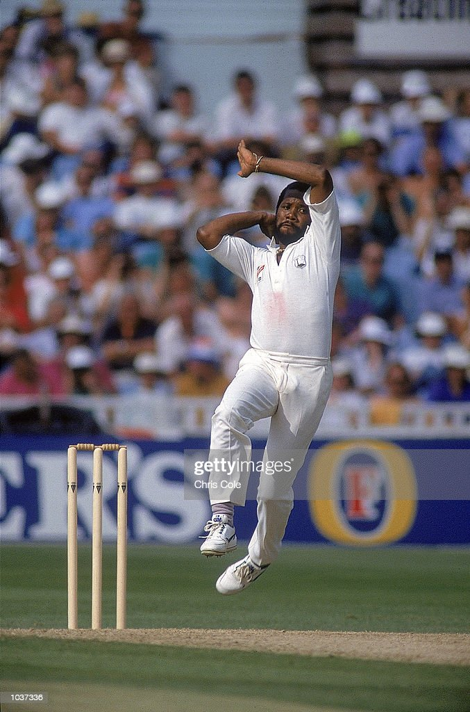 Malcolm Marshall of the West Indies steams in during a Test against England at Edgbaston in Birmingham England Mandatory Credit Chris Cole /Allsport