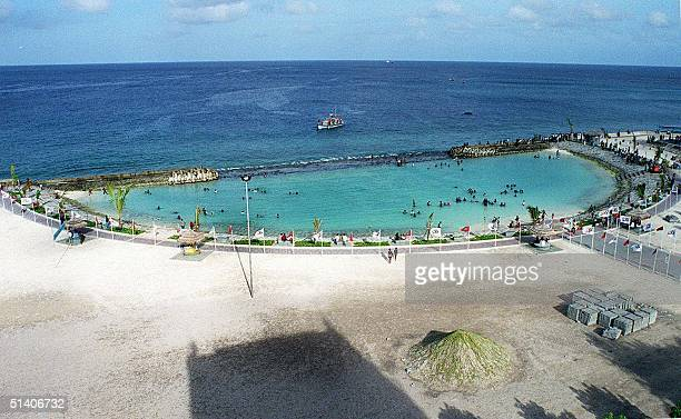 Undated photo shows the artificial beach created in the Maldivian capital Male which opened in May this year Even though the atoll nation of 1192...