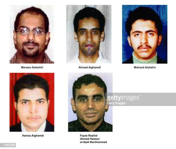 Undated photos of suspected hijackers of United Airlines flight terror attack released by the FBI September 27 2001 in Washington DC Marwan alShehhi...