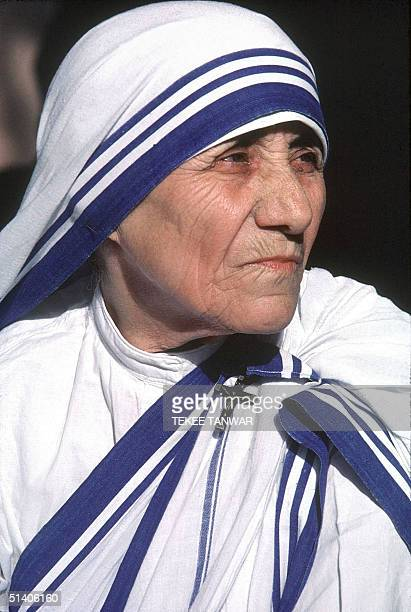 Undated picture shows Nobel Laureate Mother Teresa whose Missionaries of Charities Order runs hundreds of orphanages hospices and leper homes...