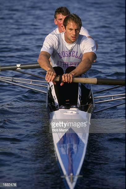 Steve Redgrave and Matthew Pinsent of Great Britain training for the coxless pairs Mandatory credit Bob Martin/Allsport
