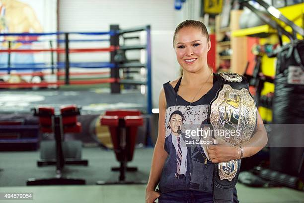 Undefeated UFC women's bantamweight champion Ronda Rousey host Media Day Ahead of her Rousey Vs Holm Fight on October 27 2015 in Glendale California