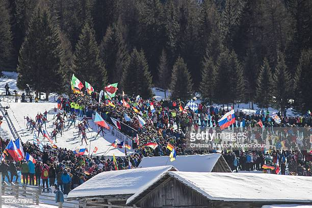 Undefined athletes competes on the Huber Alm during the 125 km women's Mass Start on January 21 2017 in AntholzAnterselva Italy