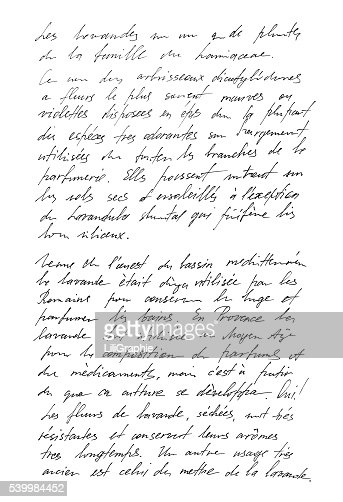 Undefined text french. Handwritten letter. Handwriting : Stock Photo