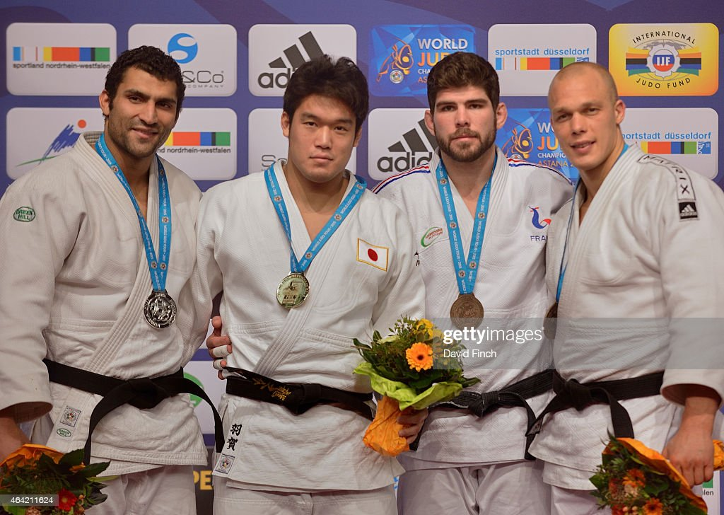 Silver; Ramadan Darwish of Egypt, Gold; <a gi-track='captionPersonalityLinkClicked' href=/galleries/search?phrase=Ryunosuke+Haga&family=editorial&specificpeople=8728947 ng-click='$event.stopPropagation()'>Ryunosuke Haga</a> of Japan, Bronzes; Cyrille Maret of France and <a gi-track='captionPersonalityLinkClicked' href=/galleries/search?phrase=Henk+Grol&family=editorial&specificpeople=4920749 ng-click='$event.stopPropagation()'>Henk Grol</a> of the Netherlands during the Dusseldorf Grand Prix on Sunday, February 22 2015 at the Mitsubishi Electric Halle, Dusseldorf, Germany.