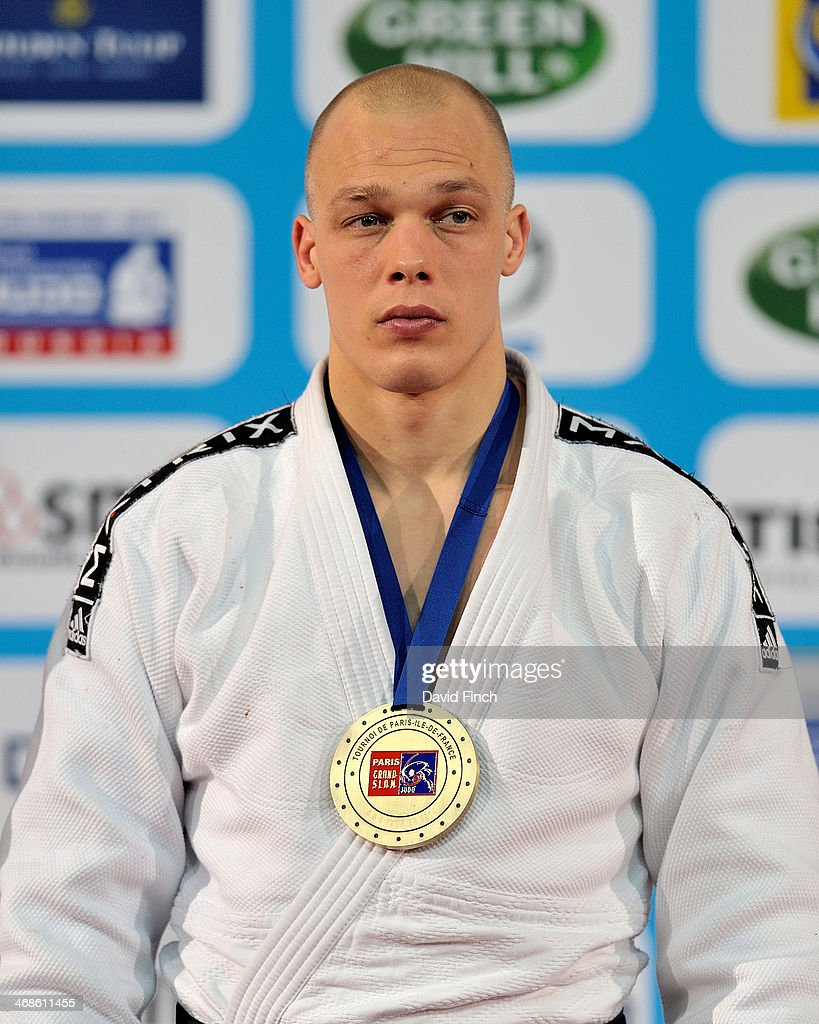 Under 100kg bronze medallist, <a gi-track='captionPersonalityLinkClicked' href=/galleries/search?phrase=Henk+Grol&family=editorial&specificpeople=4920749 ng-click='$event.stopPropagation()'>Henk Grol</a> of Holland during the Paris Grand Slam on Sunday, February 09, 2014 at the Palais Omnisports de Paris, Bercy, Paris, France.