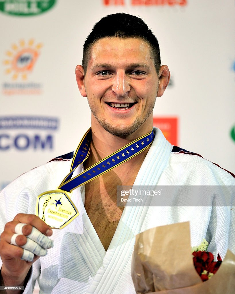 Under 100kg gold medallist, <a gi-track='captionPersonalityLinkClicked' href=/galleries/search?phrase=Lukas+Krpalek&family=editorial&specificpeople=6589582 ng-click='$event.stopPropagation()'>Lukas Krpalek</a> CZE, proudly shows his medal during the Montpellier European Judo Championships at the Park&Suites Arena on Saturday, April 2014 in Perols, Montpellier, France.