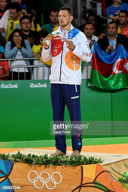 Under 100kg judo gold medallist Lukas Krpalek of the Czech during the medal ceremony at the 2016 Rio Olympic Judo on August 11 2016 held at the...