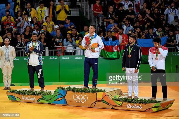 Under 100kg judo medallists LR Silver Elmar Gasimov of Azerbaijan Gold Lukas Krpalek of the Czech Republic Bronzes Cyrille Maret of France and...