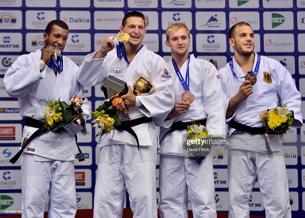 Silver; Jose Armenteros of Cuba, Gold; Lukas Krpalek CZE of the Czech Republic, Bronzes; Ivan Remarenco of the United Arab Emirates and Karl-Richard Frey of Germany during the Chelyabinsk Judo World Championships at the Sport Arena 'Traktor' on August 30, 2014 in Chelyabinsk, Russia.
