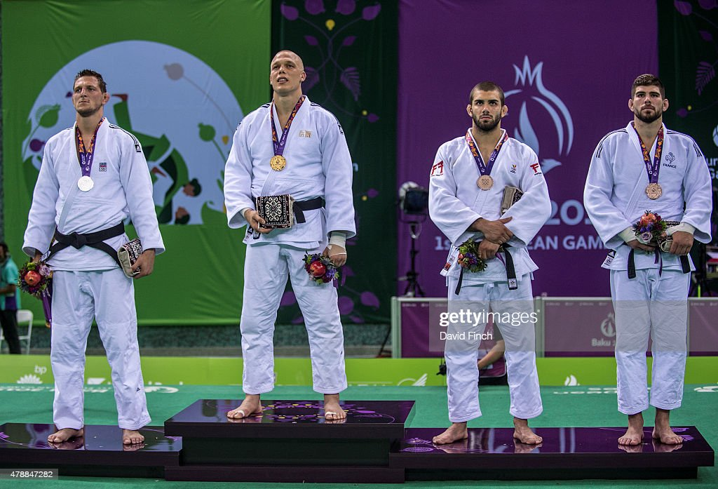 Under 100kg medallists (L-R) <a gi-track='captionPersonalityLinkClicked' href=/galleries/search?phrase=Lukas+Krpalek&family=editorial&specificpeople=6589582 ng-click='$event.stopPropagation()'>Lukas Krpalek</a> of the Czech Republic (Silver), <a gi-track='captionPersonalityLinkClicked' href=/galleries/search?phrase=Henk+Grol&family=editorial&specificpeople=4920749 ng-click='$event.stopPropagation()'>Henk Grol</a> of the Netherlands (Gold), Toma Nikiforov of Belgium (Bronze) and Cyrille Maret of France during the 2015 Baku European Judo Championships at the <a gi-track='captionPersonalityLinkClicked' href=/galleries/search?phrase=Heydar+Aliyev&family=editorial&specificpeople=2596469 ng-click='$event.stopPropagation()'>Heydar Aliyev</a> Arena, Baku, Azerbaijan.