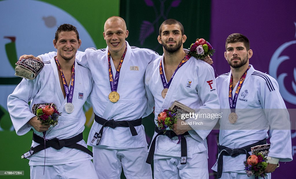 Under 100kg medallists (L-R) Lukas Krpalek of the Czech Republic (Silver), <a gi-track='captionPersonalityLinkClicked' href=/galleries/search?phrase=Henk+Grol&family=editorial&specificpeople=4920749 ng-click='$event.stopPropagation()'>Henk Grol</a> of the Netherlands (Gold), Toma Nikiforov of Belgium (Bronze) and Cyrille Maret of France during the 2015 Baku European Judo Championships at the <a gi-track='captionPersonalityLinkClicked' href=/galleries/search?phrase=Heydar+Aliyev&family=editorial&specificpeople=2596469 ng-click='$event.stopPropagation()'>Heydar Aliyev</a> Arena, Baku, Azerbaijan.