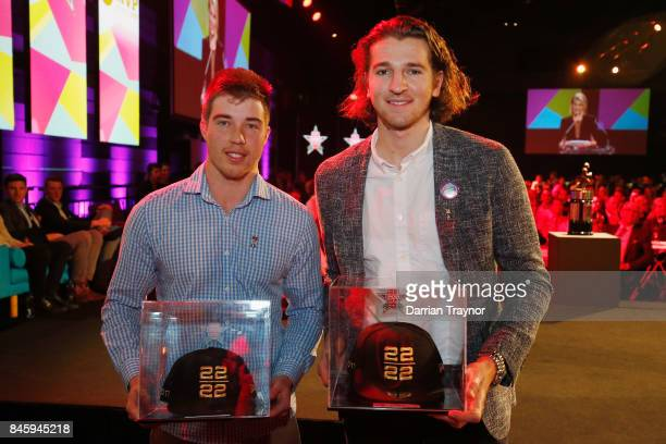 22 under 22 vice captian Zach Merrett of the Bombers and captain Marcus Bontempelli of the Bulldogs pose for a photo during the AFL Players' MVP...