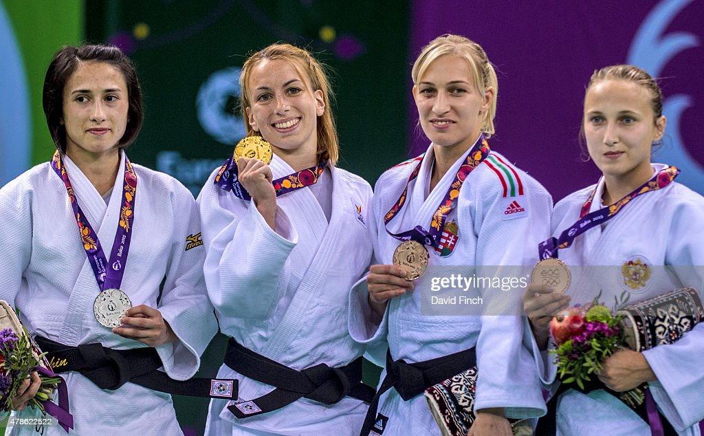 Under 48kg medallists (L-R) Ebru Sahin of Turkey (Silver), Charline van Snick of Belgium (Gold), <a gi-track='captionPersonalityLinkClicked' href=/galleries/search?phrase=Eva+Csernoviczki&family=editorial&specificpeople=5124323 ng-click='$event.stopPropagation()'>Eva Csernoviczki</a> of Hungary (Bronze) and Irina Dolgova of Russia pose during the 2015 Baku European Judo Championships at the <a gi-track='captionPersonalityLinkClicked' href=/galleries/search?phrase=Heydar+Aliyev&family=editorial&specificpeople=2596469 ng-click='$event.stopPropagation()'>Heydar Aliyev</a> Arena, Baku, Azerbaijan.