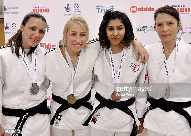 Under 48kg medallists LR Silver Kimberley Renicks Gold Hayley Willis Bronzes Harkirat Sekhon and Caroline Broadley during the British Senior Judo...