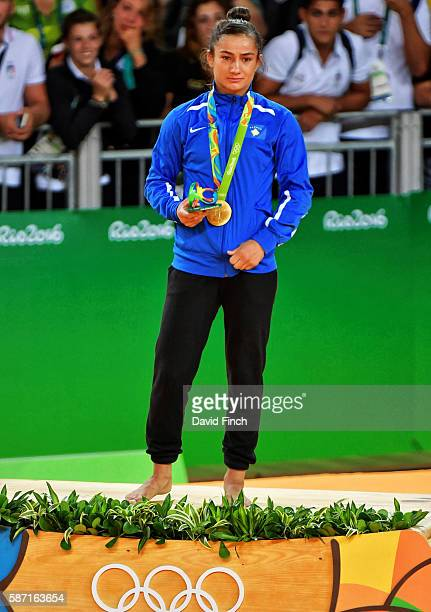 Under 52kg gold medallist Majlinda Kelmendi of Kosovo during the medal ceremony on day 2 of the 2016 Rio Olympic Judo on Sunday August 07 held at the...