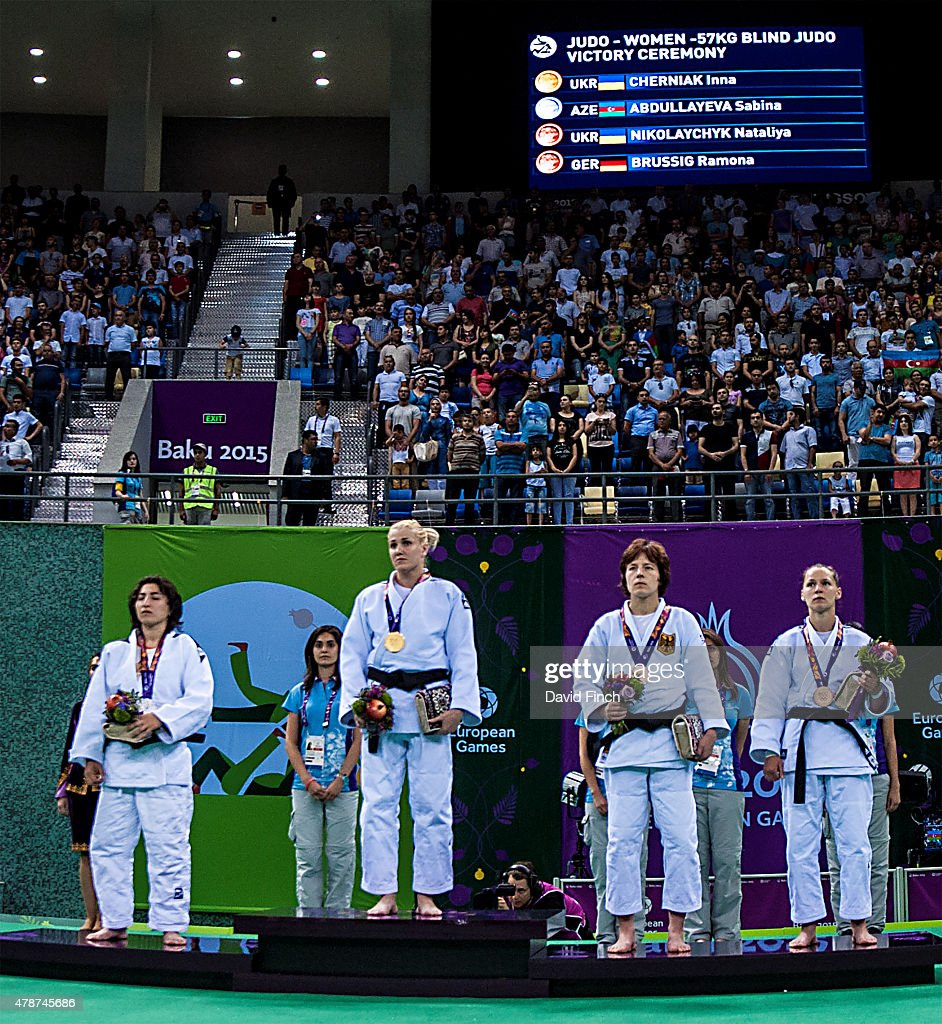 Silver; Sabrina Aboullayeva AZE, Gold; Inna Cherniak UKR, Bronzes; Ramona Brussig GER and Nataliya Nikolaychyk UKR during day fourteen of the Baku 2015 European Games at the <a gi-track='captionPersonalityLinkClicked' href=/galleries/search?phrase=Heydar+Aliyev&family=editorial&specificpeople=2596469 ng-click='$event.stopPropagation()'>Heydar Aliyev</a> Arena in Baku, Azerbaijan.