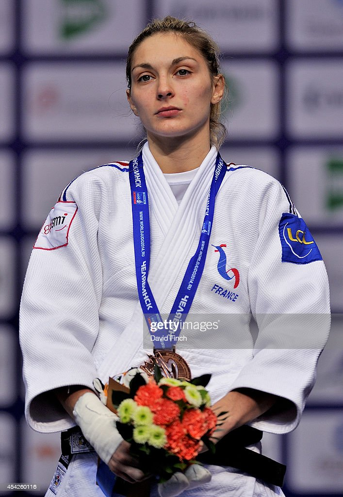 Under 57kg bronze medallist, <a gi-track='captionPersonalityLinkClicked' href=/galleries/search?phrase=Automne+Pavia&family=editorial&specificpeople=7182223 ng-click='$event.stopPropagation()'>Automne Pavia</a> of France during the Chelyabinsk Judo World Championships at the Sport Arena 'Traktor' on August 27, 2014 in Chelyabinsk, Russia.