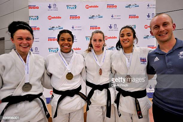 Under 57kg medallists LR Silver Bekky Livesey Gold Nekoda Davis Bronzes Connie Ramsay and Lele Nairne with medal presenter World VI champion and...