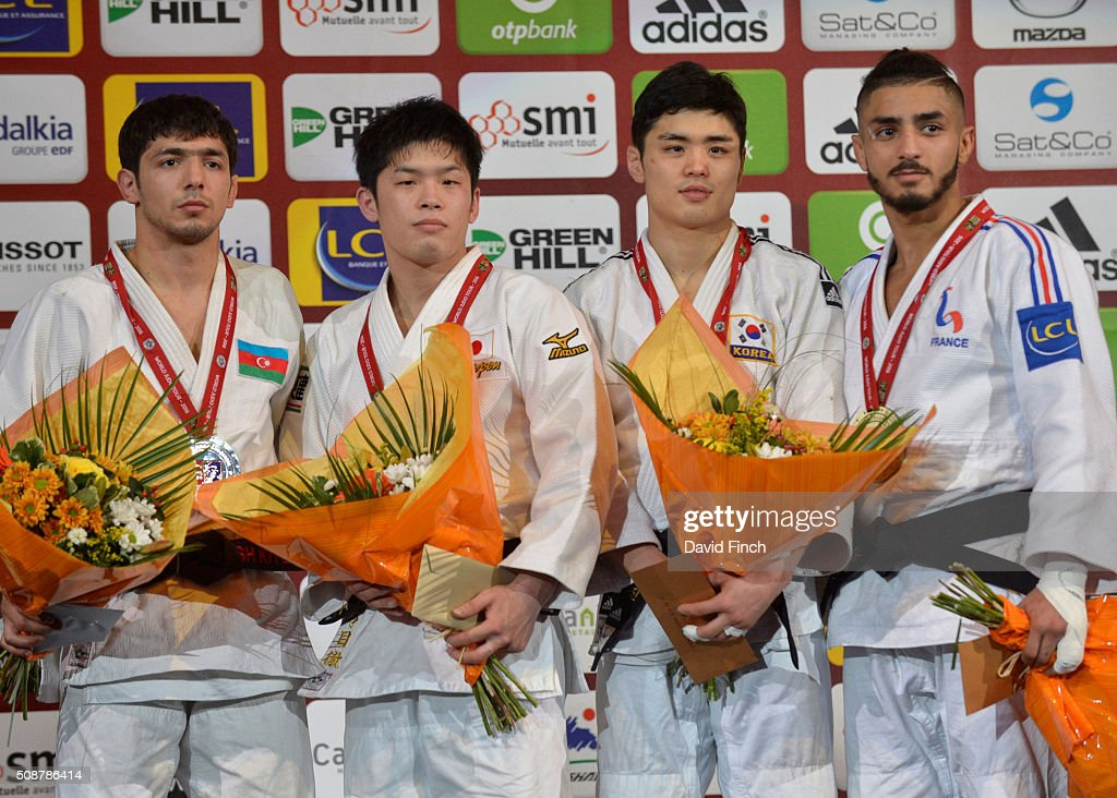 Under 60kg medallists Silver Ilgar Mushkiyev of Azerbaijan Gold Toru Shishime of Japan Bronzes Won Jin Kim of South Korea and Walide Khyar of France...