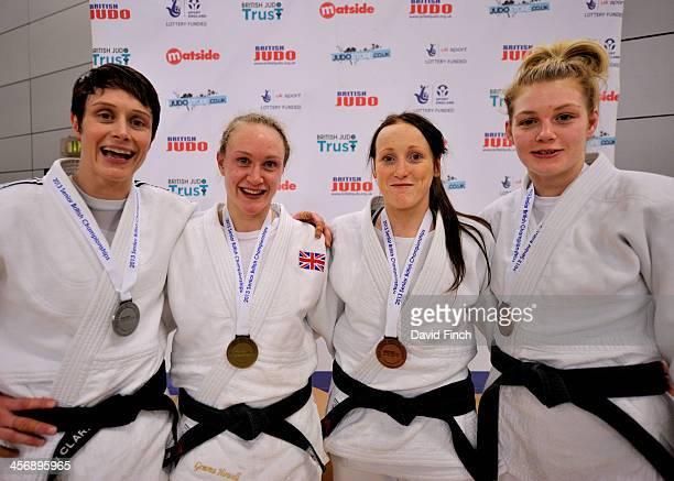 Under 63kg medallists LR Silver Sarah Clark Gold Gemma Howell Bronzes Kelly Staddon and Samantha Clark at the British Senior Judo Championships...