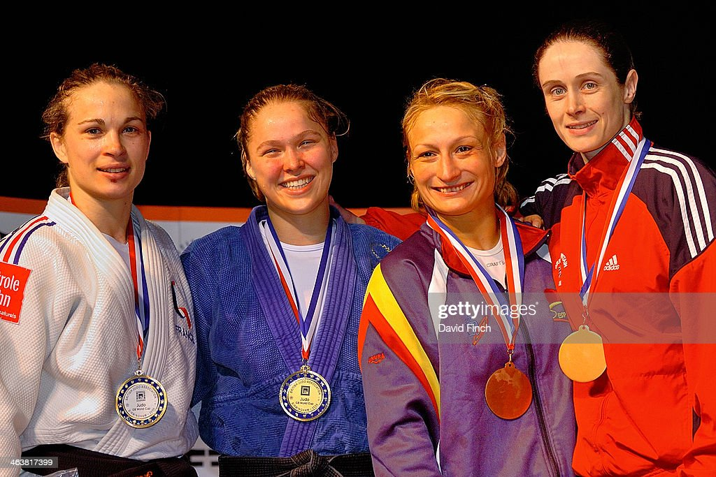 Silver: Fanny Riaboff FRA, Gold: <a gi-track='captionPersonalityLinkClicked' href=/galleries/search?phrase=Ronda+Rousey&family=editorial&specificpeople=3009906 ng-click='$event.stopPropagation()'>Ronda Rousey</a> USA, Bronzes: Sara Alvarez ESP and <a gi-track='captionPersonalityLinkClicked' href=/galleries/search?phrase=Sarah+Clark&family=editorial&specificpeople=609741 ng-click='$event.stopPropagation()'>Sarah Clark</a> GBR at the Fighting Films Birmingham Women's World Cup on day Saturday, April 01, 2006 at the National Indoor Arena, Birmingham, England, UK.