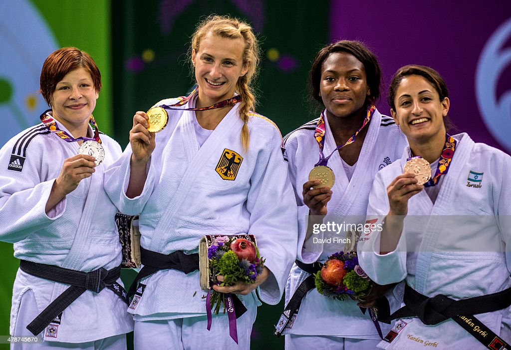 Silver; Tina Trstenjak SLO, Gold; Martyna Trajdos GER, Bronzes; Clarisse Agbegnenou FRA and Yarden Gerbi ISR during day fourteen of the Baku 2015 European Games at the <a gi-track='captionPersonalityLinkClicked' href=/galleries/search?phrase=Heydar+Aliyev&family=editorial&specificpeople=2596469 ng-click='$event.stopPropagation()'>Heydar Aliyev</a> Arena in Baku, Azerbaijan.