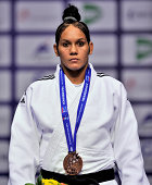Under 70kg bronze medallist Onix Cortes Aldama of Cuba and during the Chelyabinsk Judo World Championships at the Sport Arena 'Traktor' on August 29...