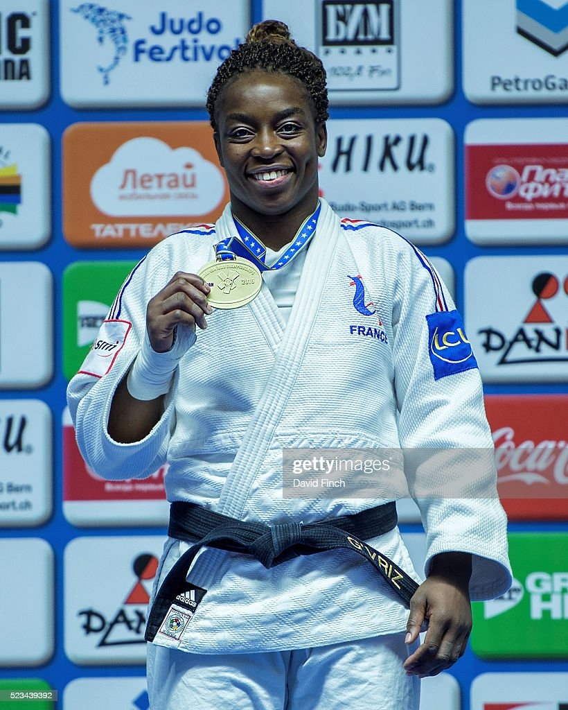 Under 70kg gold medallist, <a gi-track='captionPersonalityLinkClicked' href=/galleries/search?phrase=Gevrise+Emane&family=editorial&specificpeople=607967 ng-click='$event.stopPropagation()'>Gevrise Emane</a> of France, proudly poses with her fifth European gold medal during the 2016 Kazan European Judo Championships (21-24 April) at the Tatneft Sports Palace, Kazan, Russia.