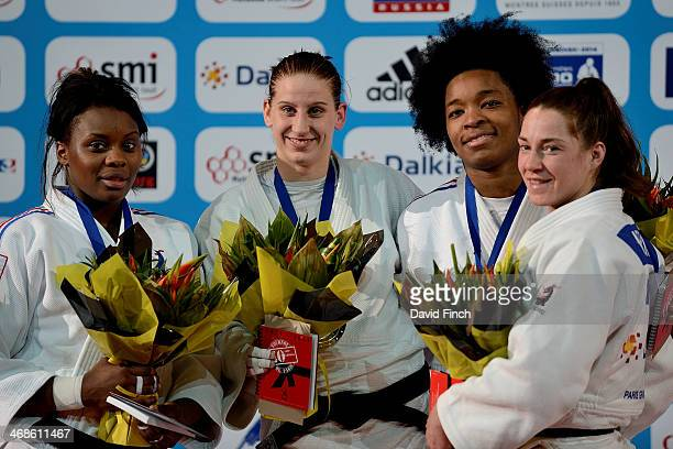 Under 70kg medallists LR Silver Madeleine Malonga FRA Gold Anamari Velensek SLO Bronze Audrey Tcheumeo FRA and Marhinde Verkerk NED during the Paris...