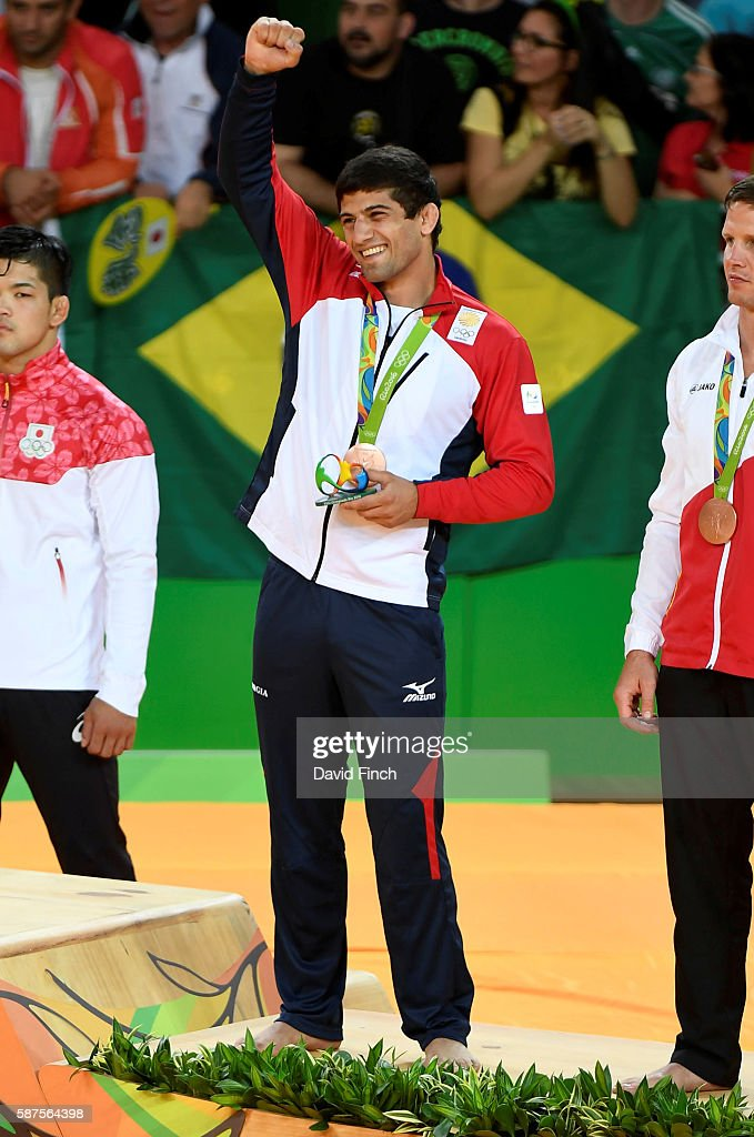 Under 73kg bronze medallist Lasha Shavdatuashvili of Georgia during day 3 of the 2016 Rio Olympic Judo on Monday August 08 held at the Carioca Arenas...