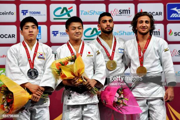 Under 73kg medallists LR Silver ChangRim An of South Korea Gold Soichi Hashimoto of Japan Bronzes Hidayet Heydarov of Azerbaijan and Tohar Butbul of...