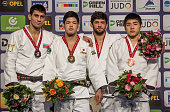 Under 73kg medallists LR Silver Rustam Orujov of Azerbaijan Gold Shohei Ono of Japan Bronzes Lasha Shavdatuashvili of Georgia and ChangRim An of...